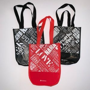 lululemon athletica Bags - Lululemon Tote Bags Small Lot of Three 3 Black/Red
